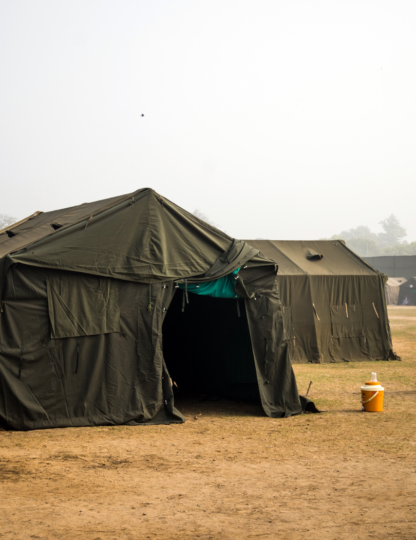 Water supply in a temporary army camp